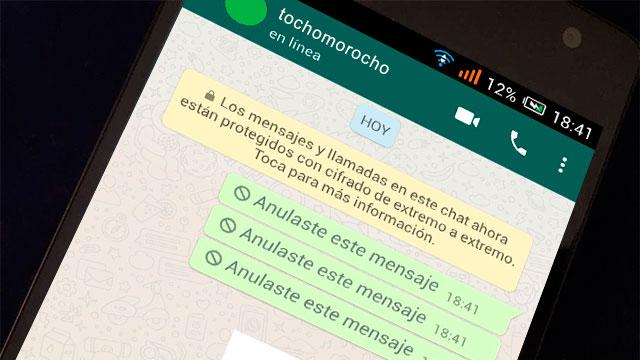 Eliminar y anular mensajes enviados por WhatsApp
