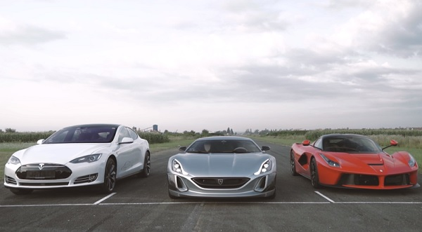 Rimac One vs LaFerrari vs Tesla Model S