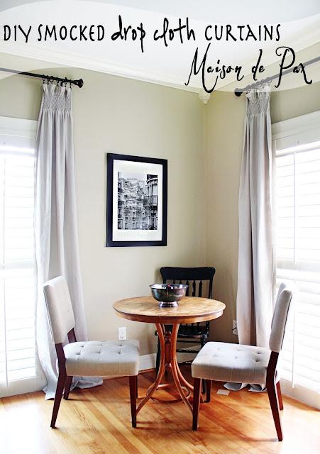 DIY Smocked drop cloth curtains- Maison de Pax