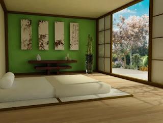 habitación en verde y marrón