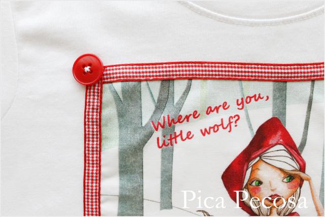 camiseta-personalizada-caperucita-roja-lazo-cuadros-botones-niña-diy
