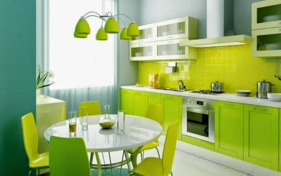 Warna dapur minimalis moderen yang cerah dan indah