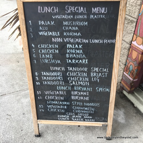 lunch specials at Taste of the Himalayas in Berkeley, California