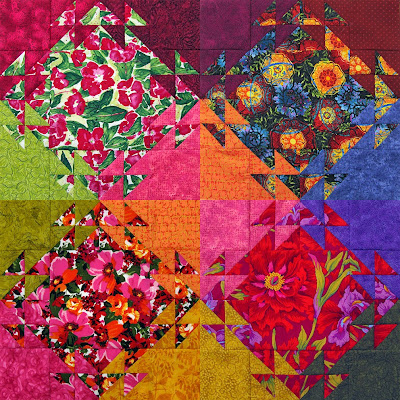 Robin Atkins, shimmer quilt, four completed blocks