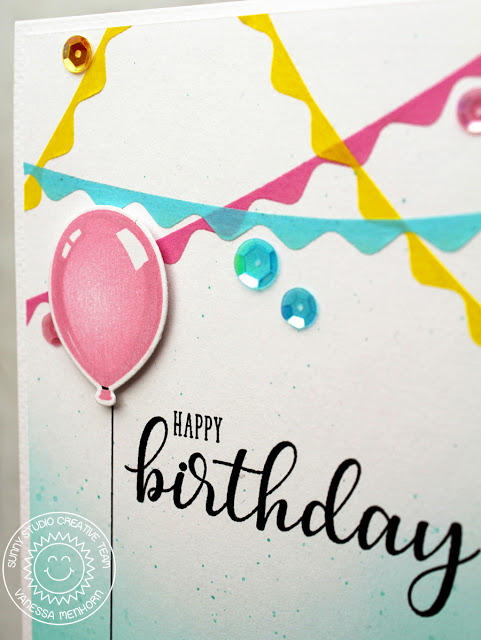 Sunny Studio Stamps: Ric Rac Borders Banner Filled Birthday Card by Vanessa Menhorn