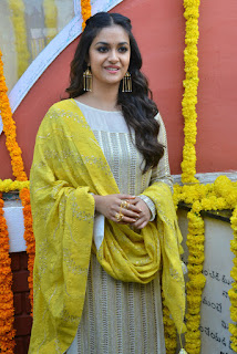 Keerthy Suresh in White Dress with Yellow Dupatta