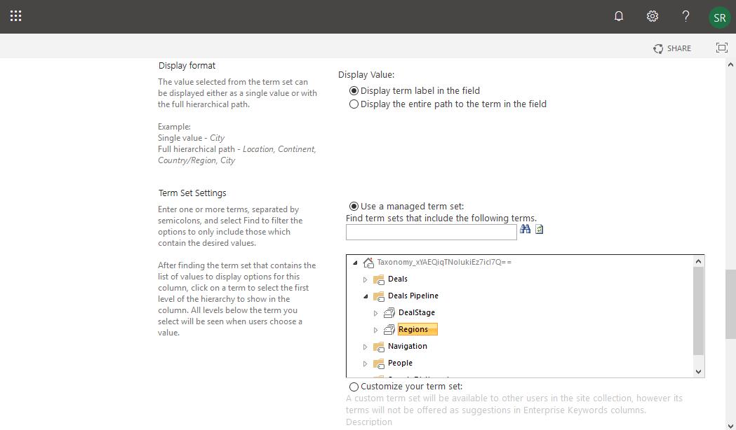 create managed metadata site column in sharepoint online