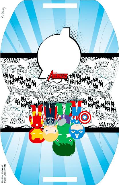 Caja tipo almoada Los Vengadores Chibi para imprimir gratis.
