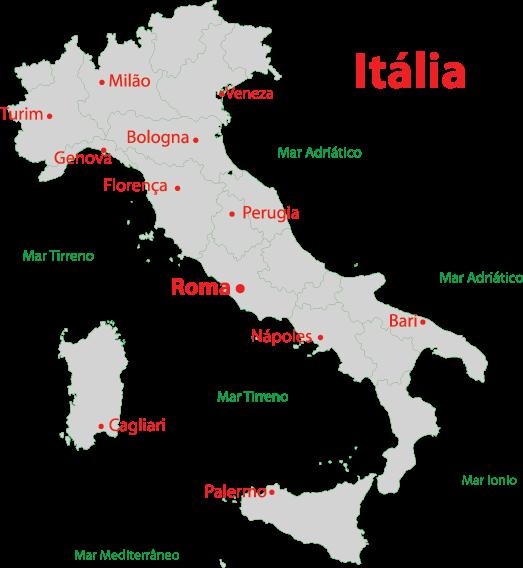Mapa das cidades da Itália