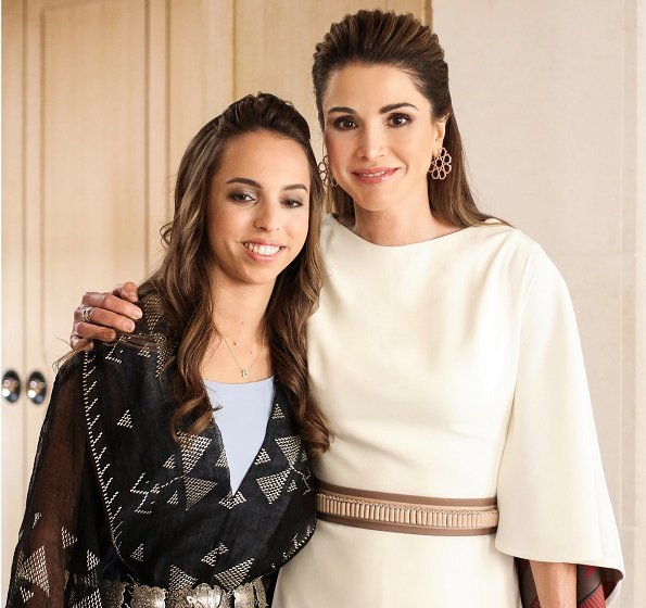 Queen Rania and her daughter Princess Salma attended the national celebrations held at Raghadan Palace