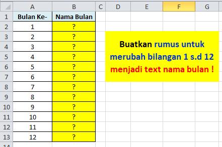Contoh Soal Excel Merubah Angka dan Bulan