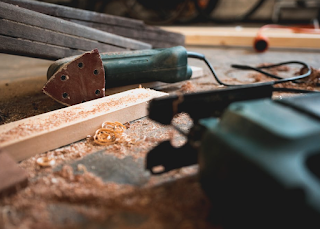 power tools and sawdust