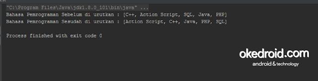 Output Hasil Contoh Program Mengurutkan Huruf String Sorting Array List pada Java