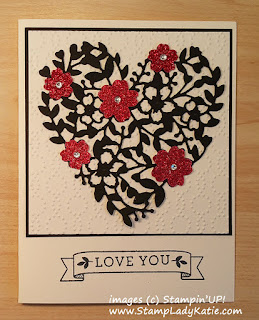 Valentine made with Stampin'UP!'s Bloomin Love Bundle could also be a Wedding Card