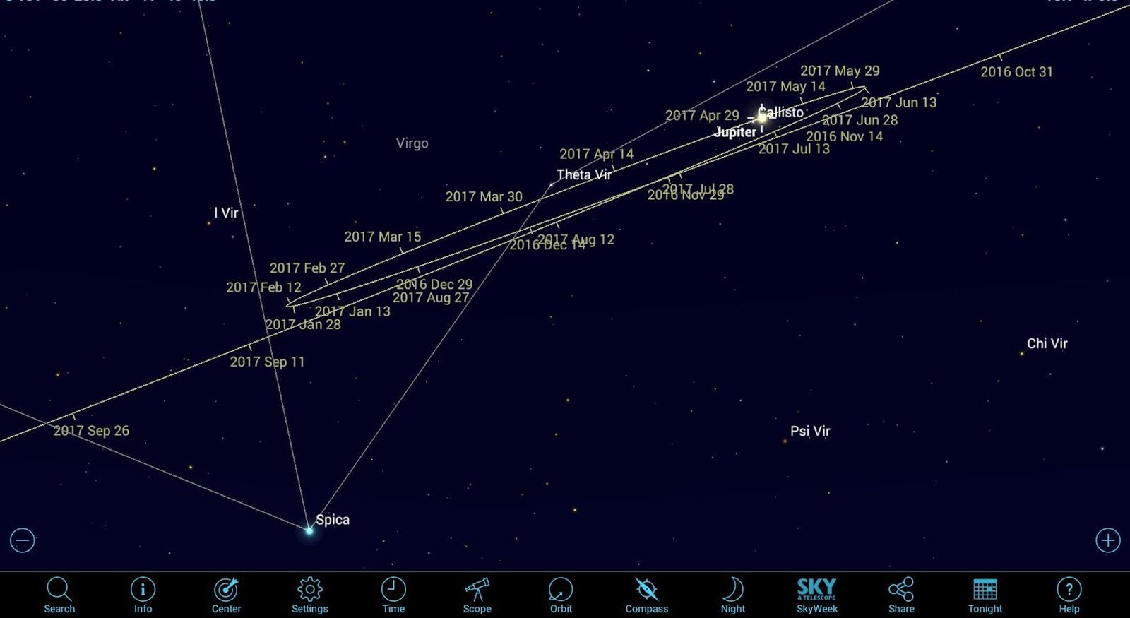 Melihat jupiter memakai aplikasi astronomi seluler ngopiimaste
