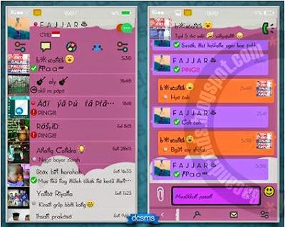 download bbm moddif tema keren lucu parallax purple theme cocok untuk perempuan cewe apk
