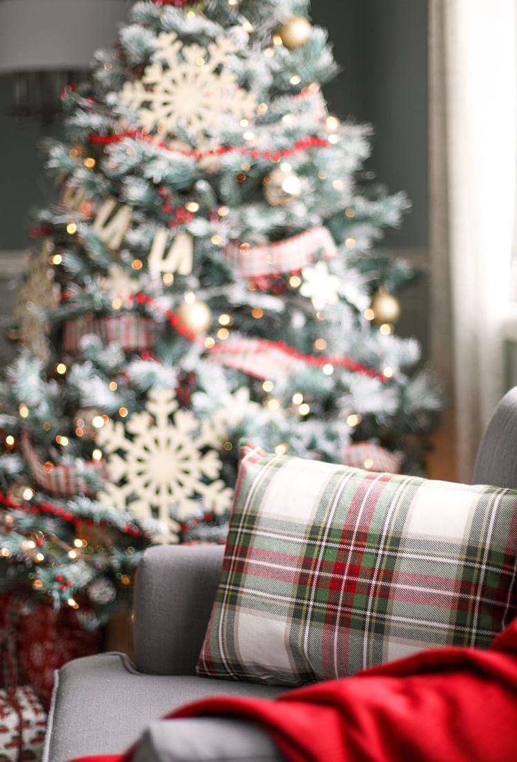 Plaid Christmas pillow and Christmas tree ribbon