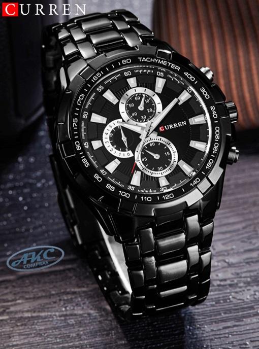 Relojes CURREN negro para hombres elegantes    AKC Compras f2286fb4c66