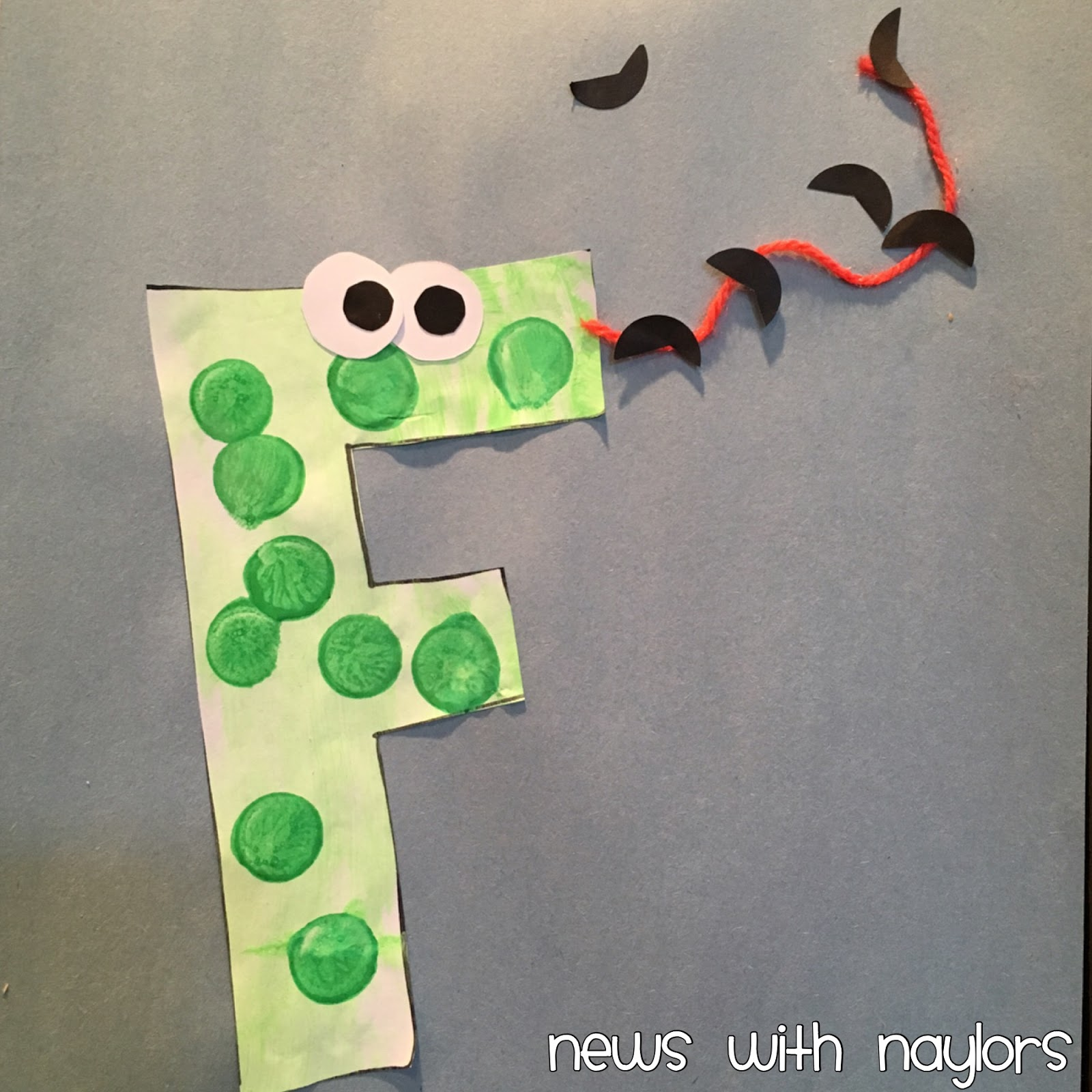 Craft 1 F Is For Frog From Crystal Co My Three Painted A Block Letter With Sponge Brush Used Green Dot Marker To Make Spots And Glued On Eyes