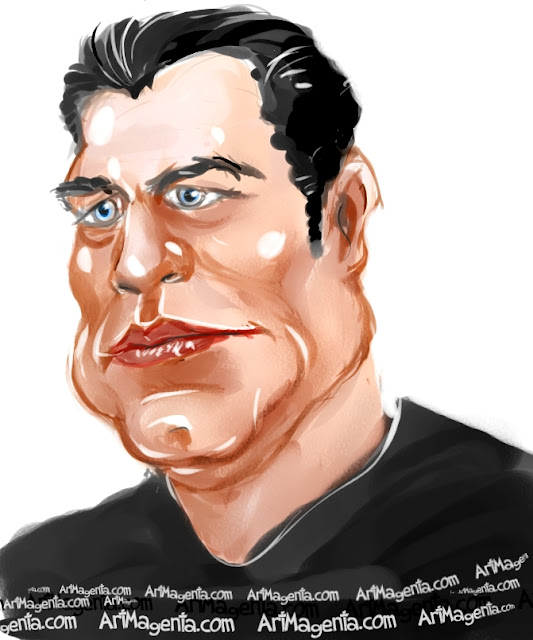 John Travolta caricature cartoon. Portrait drawing by caricaturist Artmagenta