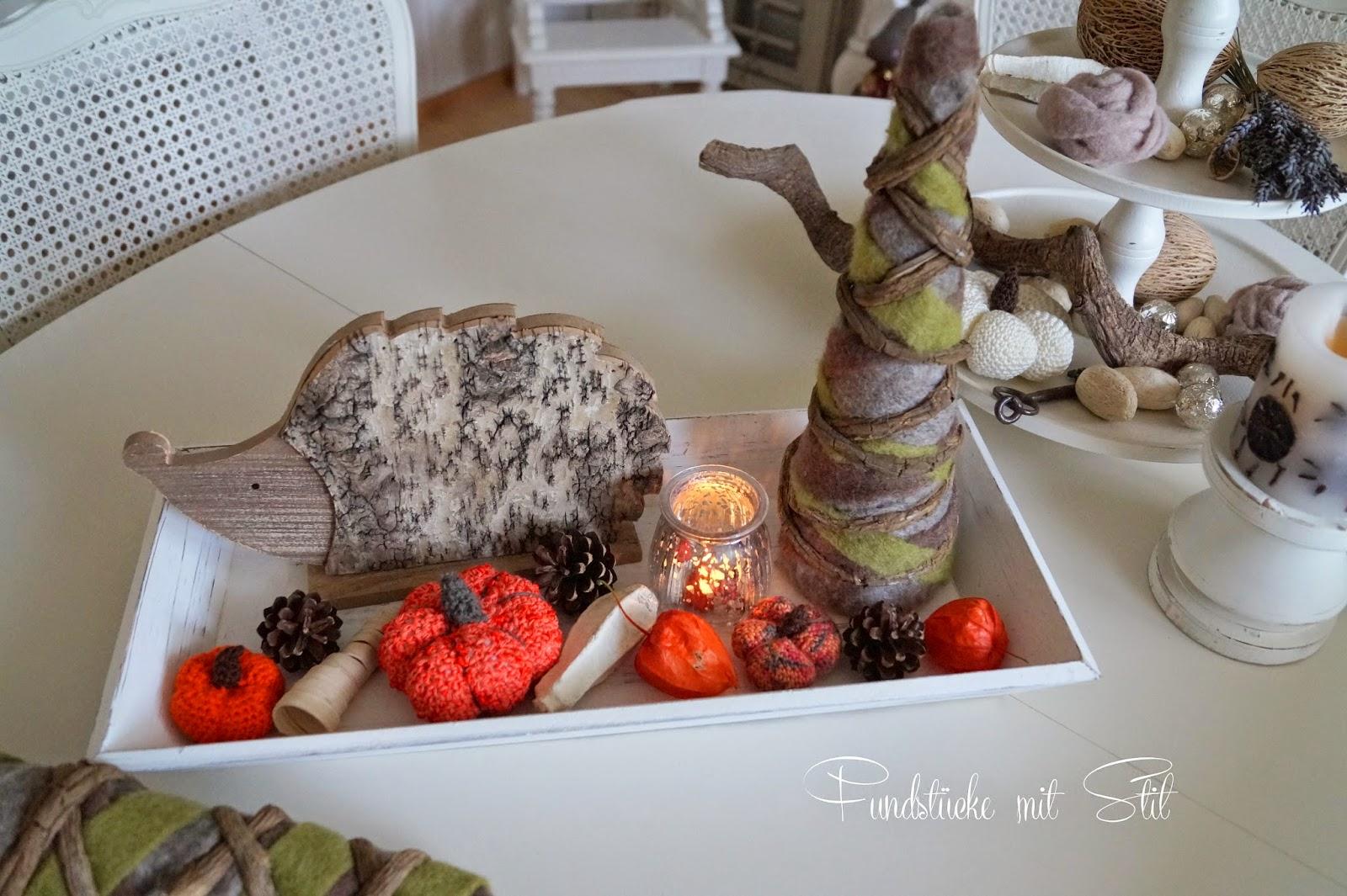 Fundst cke mit stil k rbis geh kelt filzrose herbstdeko for Herbstdeko mit kurbis