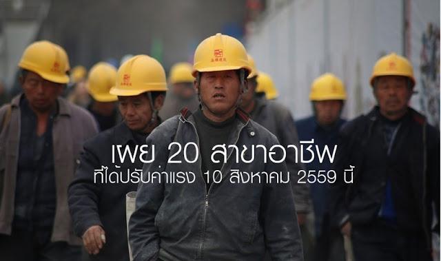 20 สาขาอาชีพ ที่ได้ปรับค่าแรง 10 สิงหาคม 2559 นี้