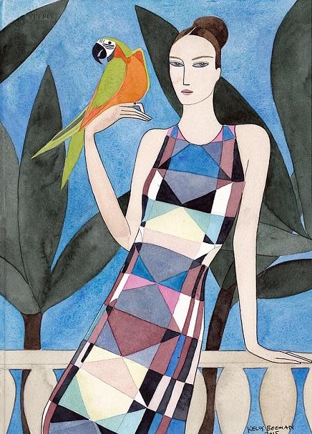 Kelly Beeman arte | dibujo en acuarela de mujer elegante estilo fashionista