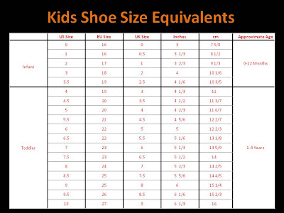 QatiQue cLoSet Childrens Shoe Size Chart