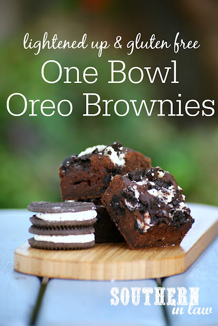 Gluten Free One Bowl Oreo Brownies Recipe - gluten free, healthy, low fat, low sugar, low calories, healthier brownie recipes, gluten free oreo brownies, dairy free