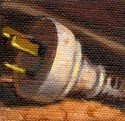 Small oil painting of a white three-pin electrical plug with the power cord wrapped behind.