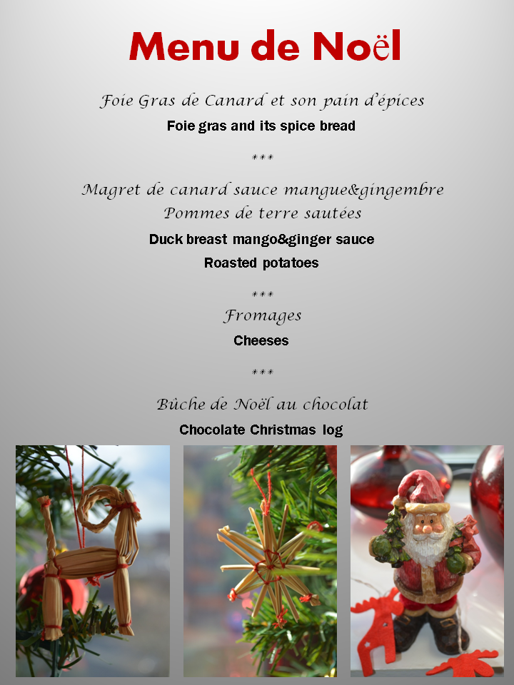 Menu Traditionnel De Noel.Menu De Noel Original