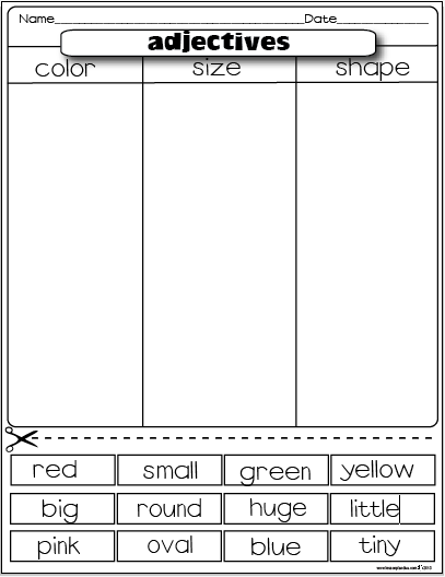 Printables Cut And Paste Worksheets For 2nd Grade freebies the lesson plan diva adjectives 2