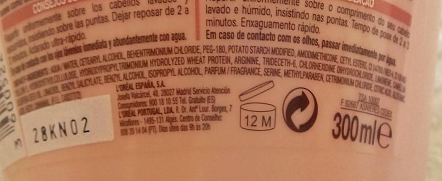 ingredientes elvive liso keratina mascarilla