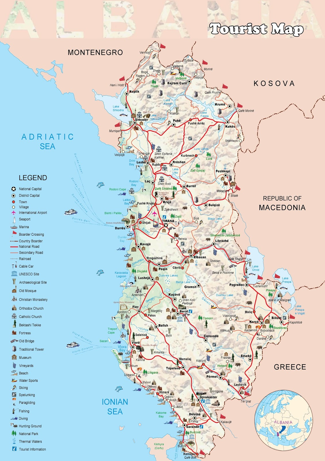 Albania Tourism Turisticheskaya Karta Albanii