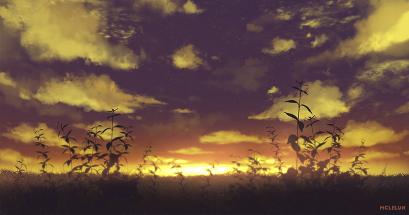 photoshop painting cloudy evening