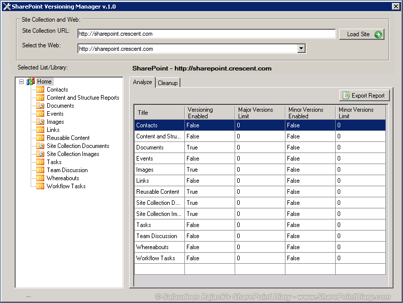 Tool to Analyze sharepoint versioning Settings