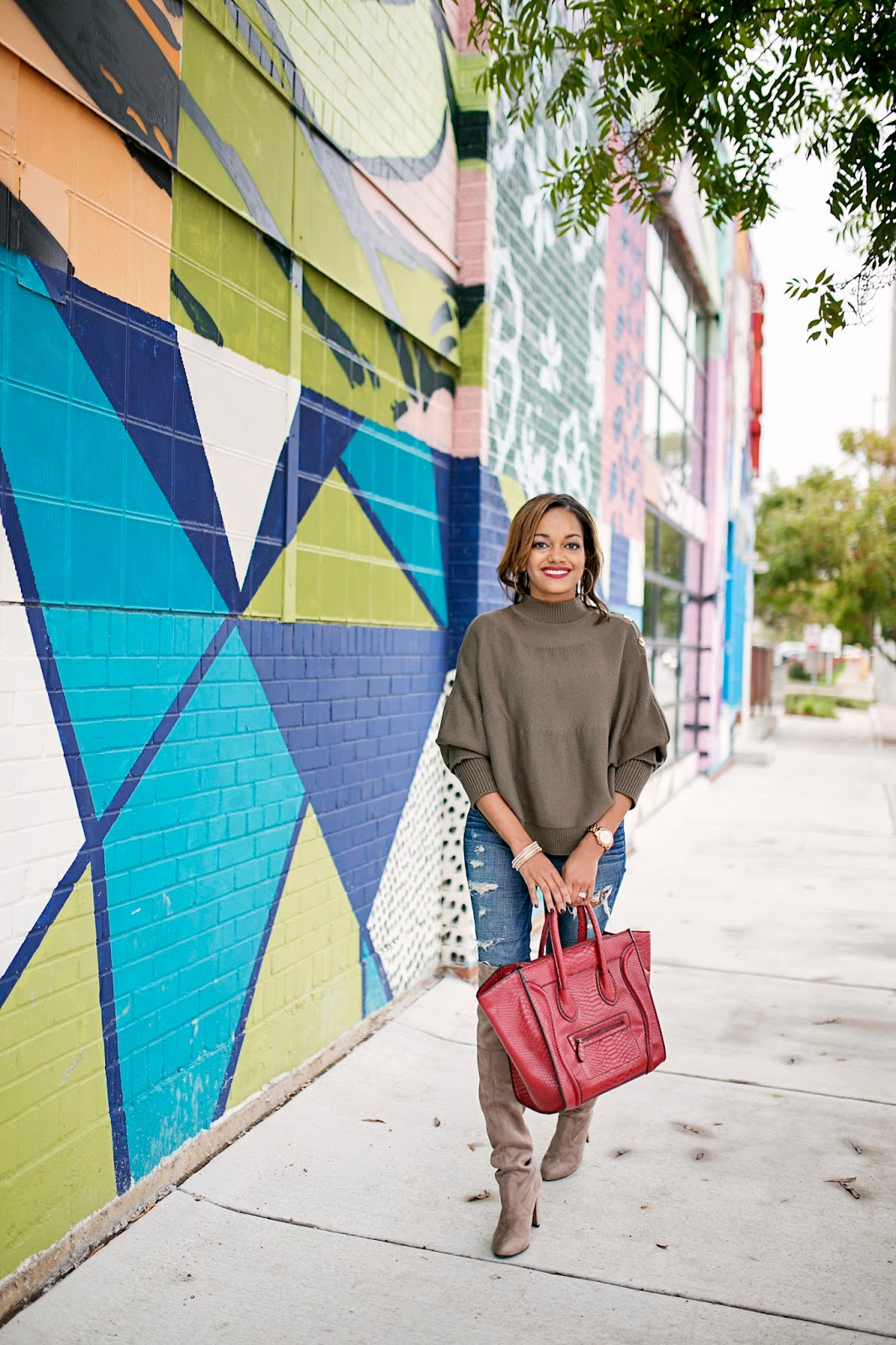 dallas fashion blogger, fashion blogger, black girl blogger, how to wear a cape, olive fashion trend, american eagle jeans, just fab, celine bag look for less, stuart weitzman highland look for less, steve madden gorgeous boot, over the knee boots