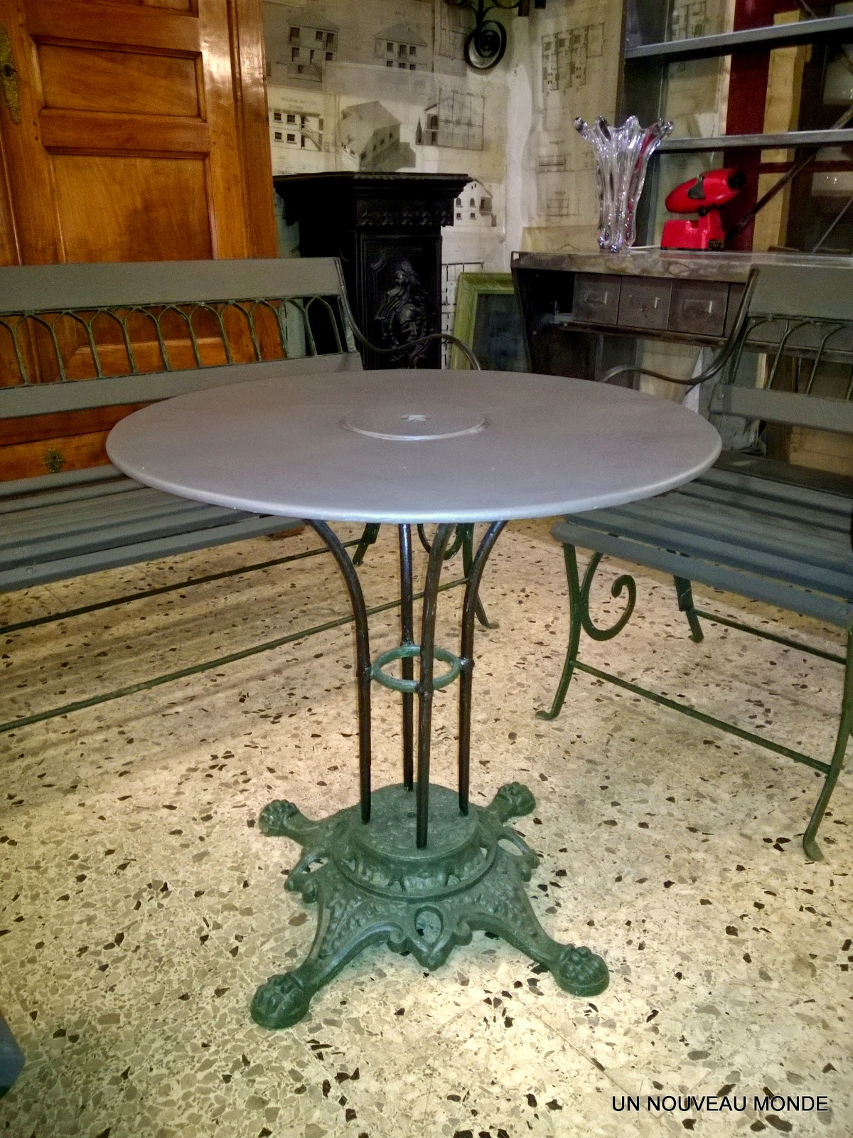 Table De Jardin Bois Fer Forge | Mobilier De Jardin Ancien Vendu