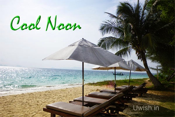 Good Afternoon wishes and greetings with a cool noon on beach.