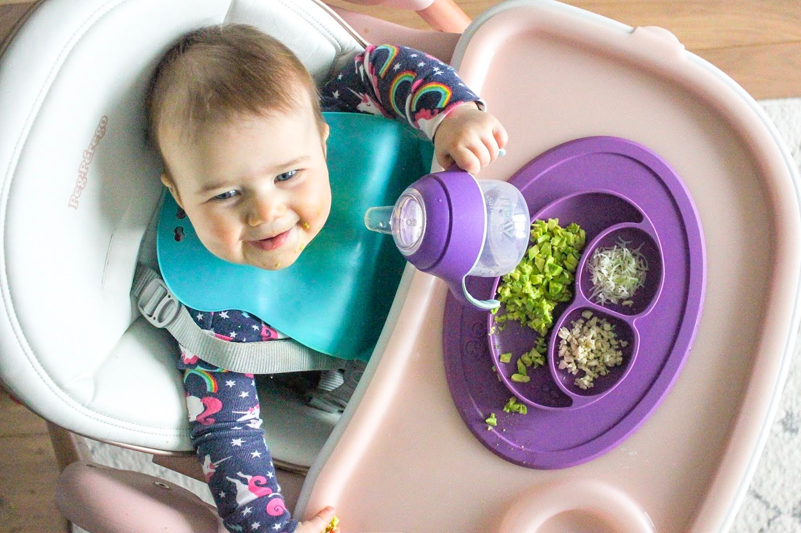 baby in Peg Perego highchair