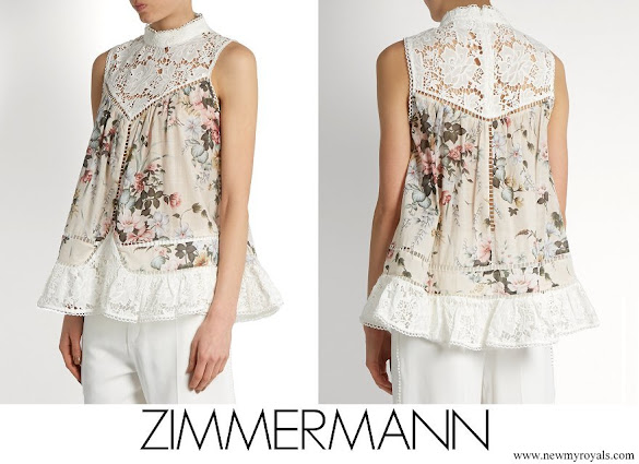 Princess Madeleine wore ZIMMERMANN Aerial Smock floral-print cotton top