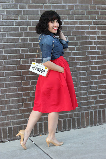 Kate Spade Off We Go Clutch and Express Red Midi Skirt Outfit