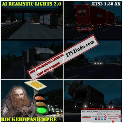 AI Realistic Lights v 2.0 for ETS2 1.30.XX