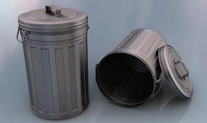 3d metal trashbin