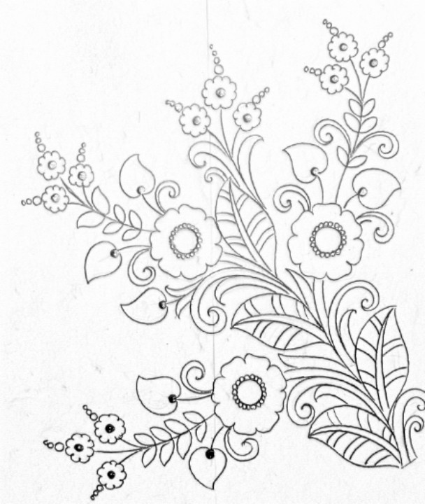 Simple Flower Design Drawing Pencil Sketch Embroidery