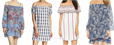 One of these printed off the shoulder dresses is from Alice + Olivia for $398 and the other three are under $41. Can you guess which one is the more expensive dress? Click the links below to see if you are correct!