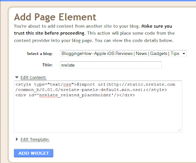 nRelate Add page element
