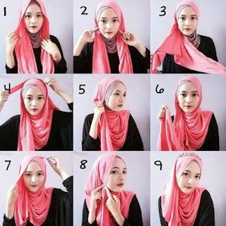 Tutorial hijab segi empat lebaran sederhana