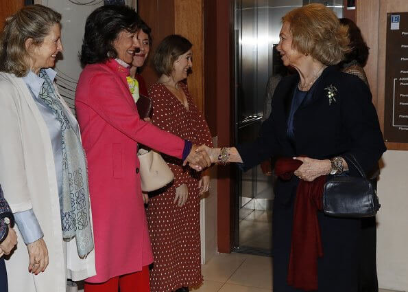 Isabel Díaz Ayuso and Queen Sofia of Spain attends a meeting with Board of Superior School Of Music 'Reina Sofia' in Madrid
