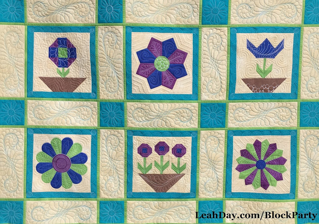 Flower Sampler Quilt by Leah Day